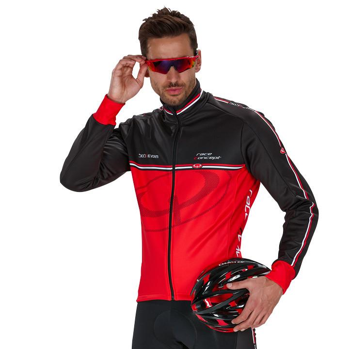 Fietsjas, BOBTEAM RACE CONCEPT winterjack rood-zwart Thermojack, voor heren,