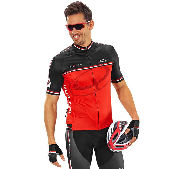 Wielrenshirt, BOBTEAM Race Concept, rood-zwart fietsshirt met korte mouwen, voor