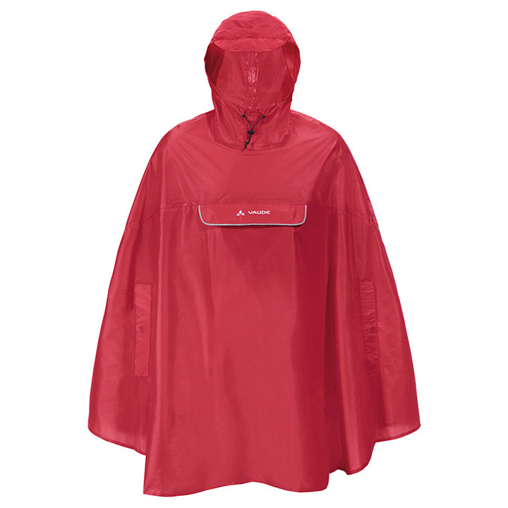 VAUDE regenponcho Valdipino, rood, voor heren, Maat 2XL, Regenjas, Regenkleding