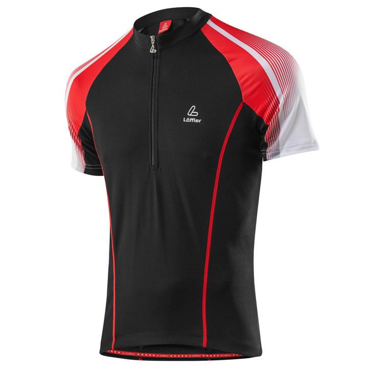 LÖFFLER Performance HZ, zwart-rood fietsshirt met korte mouwen, voor heren, Maat