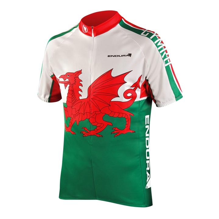 ENDURA Wales, groen-wit-rood fietsshirt met korte mouwen, voor heren, Maat S,