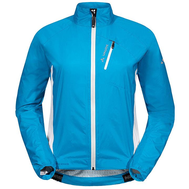 VAUDE Spray IV, blauw-wit damesregenjack, Maat 40, Regenjas, Regenkleding