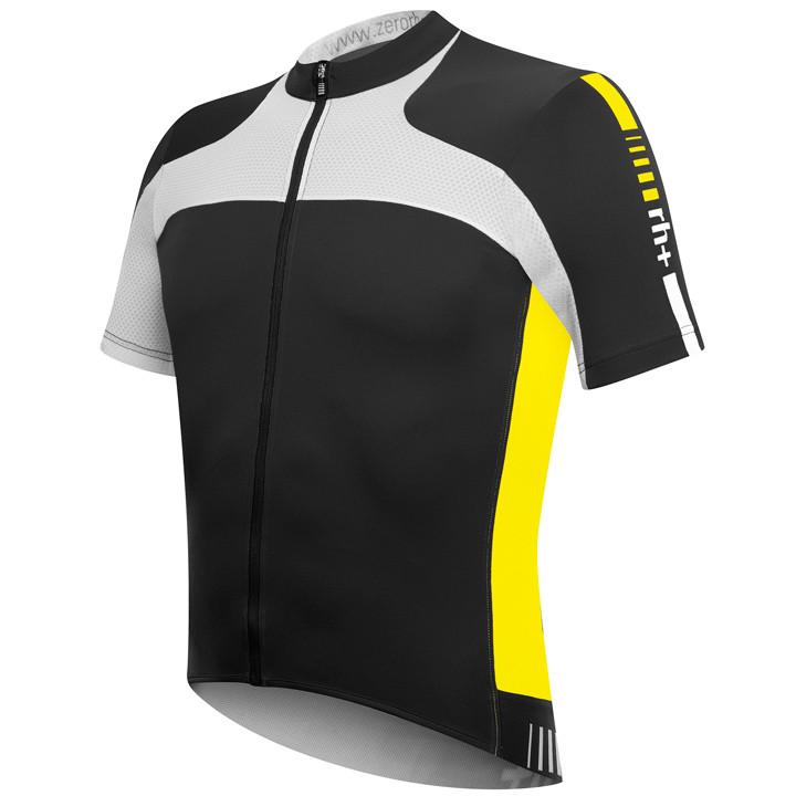 RH+ Agility, zwart-neongeel fietsshirt met korte mouwen, voor heren, Maat M, Fie