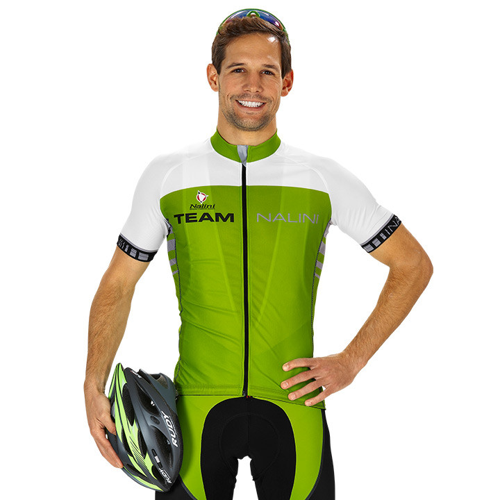 NALINI PRO Team Print, groen-wit fietsshirt met korte mouwen, voor heren, Maat M