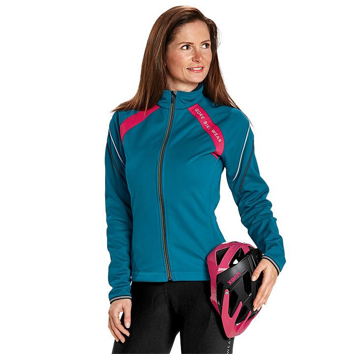GORE dames winterjack Power 2.0 SO blauw-roze dames thermofietsjack, Maat 38, MT