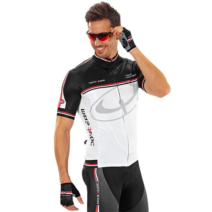 Wielrenshirt, BOBTEAM Race Concept, wit-zwart fietsshirt met korte mouwen, voor