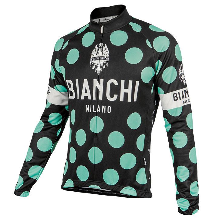 BIANCHI MILANO shirt met lange mouwen Leggenda Pois zwart-celeste fietsshirt met