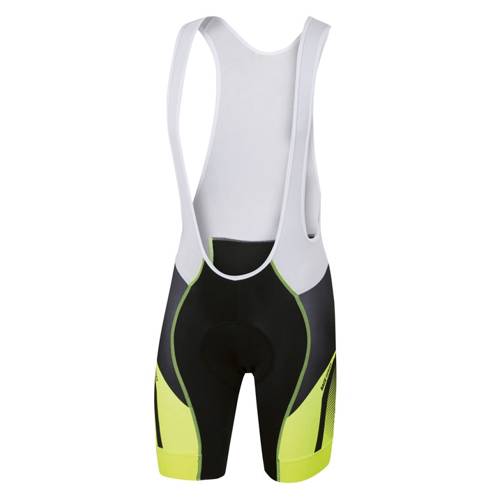 SPORTFUL korte broek met bretels Spark zwart-neon geel-antraciet korte koersbroe
