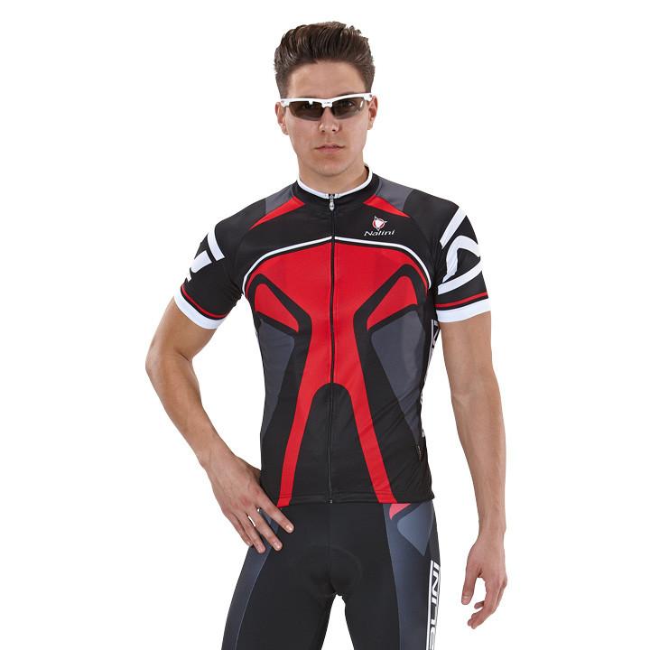 NALINI PRO Salorno, zwart-rood fietsshirt met korte mouwen, voor heren, Maat M,