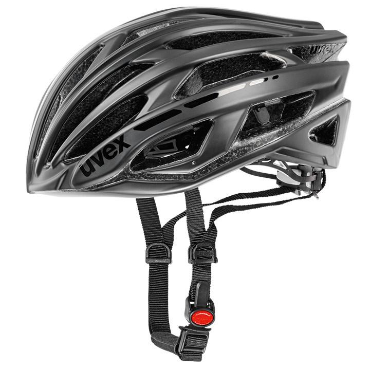 UVEX Race 5 mat zwart fietshelm, Unisex (dames / heren), Maat M, Fietshelm, Fiet