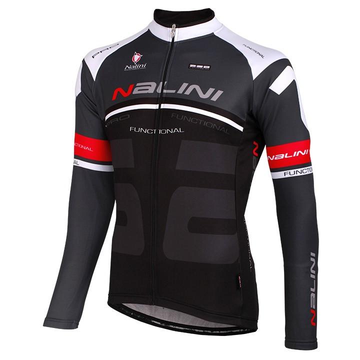 NALINI PRO Phalaris, zwart-wit-rood fietsshirt met lange mouwen, voor heren, Maa
