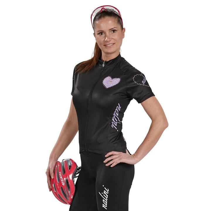 NALINI PRO dames shirt Bike Love zwart-roze damesfietsshirt, Maat M,