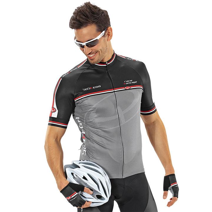 Wielrenshirt, BOBTEAM Race Concept, grijs-zwart fietsshirt met korte mouwen, voo