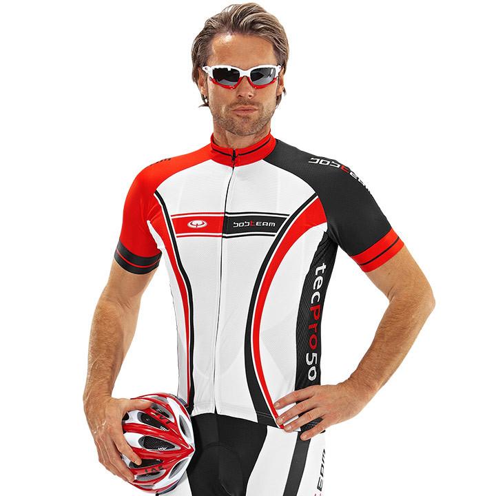 Wielrenshirt, BOBTEAM tecPro50 fietsshirt met korte mouwen, wit-zwart-rood fiets