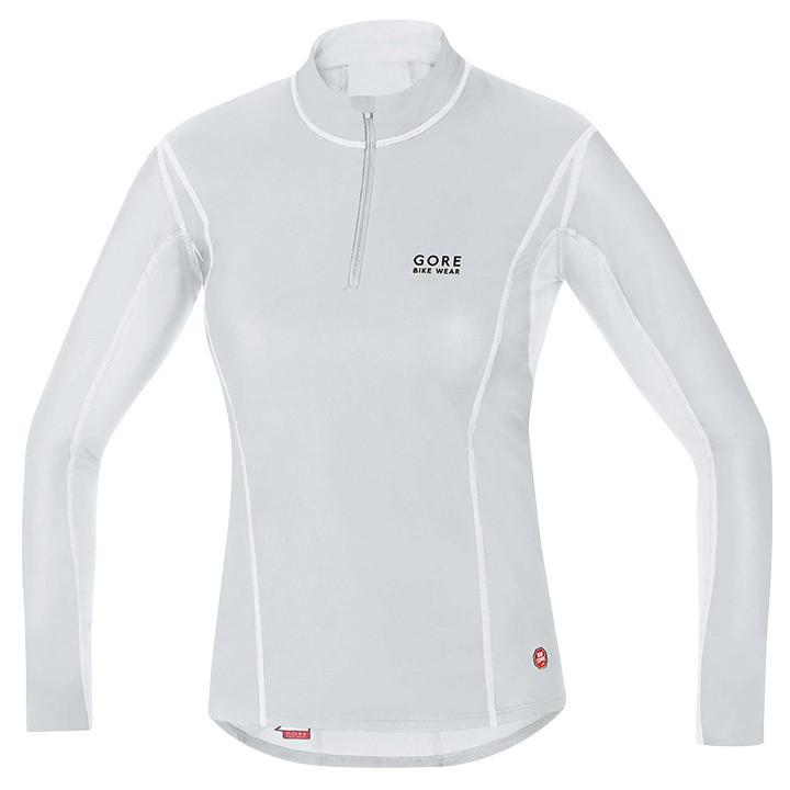 GORE dames shirt met lange mouwen WS Turtleneck licht grijs-wit, Maat 38, Onderh