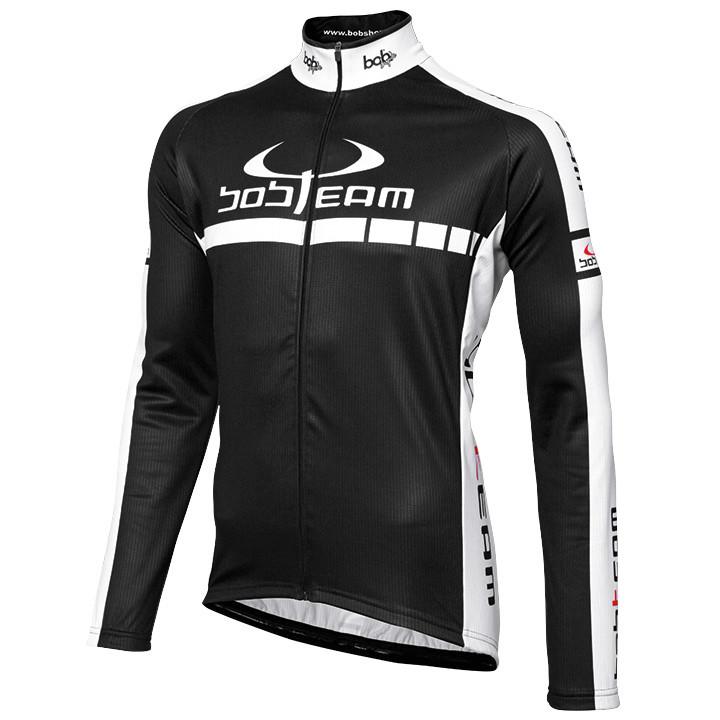 Wielershirt, BOBTEAM jersey met lange mouwen Colors zwart-wit fietsshirt met lan