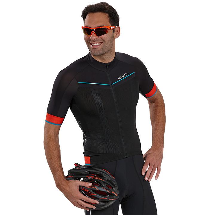 CRAFT shirt met korte mouwen Tech Aero zwart-oranje fietsshirt met korte mouwen,