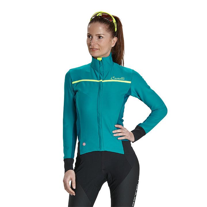 CASTELLI dames-Trasparente 3 petrol-groen Light Jacket, Maat S, Fiets jack, Wiel
