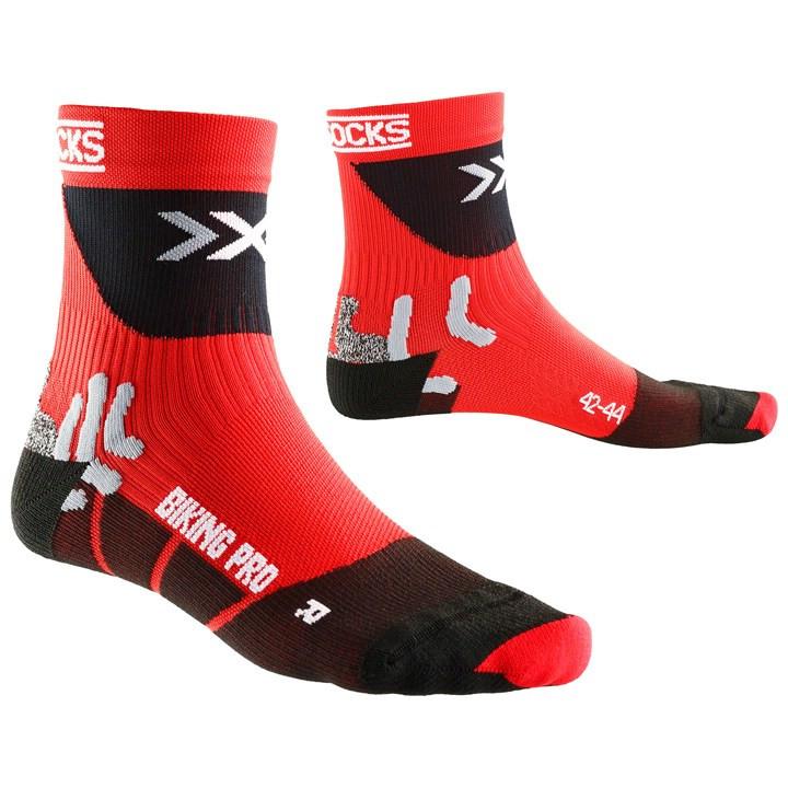 X-SOCKS Pro rood-zwart fietssokken, voor heren, Maat S, Fiets