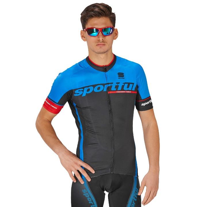 SPORTFUL shirt met korte mouwen SC Team zwart-blauw fietsshirt met korte mouwen,