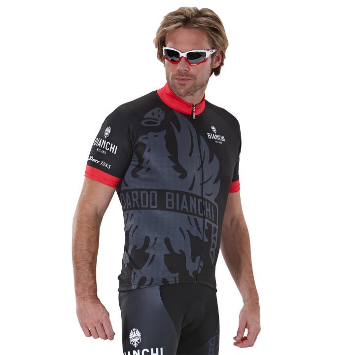 BIANCHI MILANO Cinca, zwart-titanium-rood fietsshirt met korte mouwen, voor here